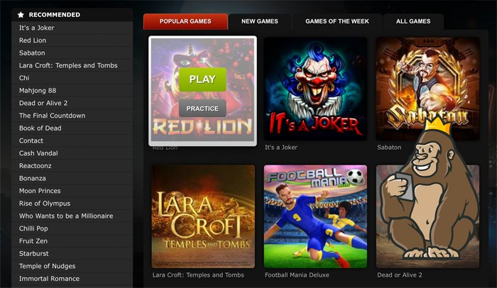 BETAT casino slot games and categories