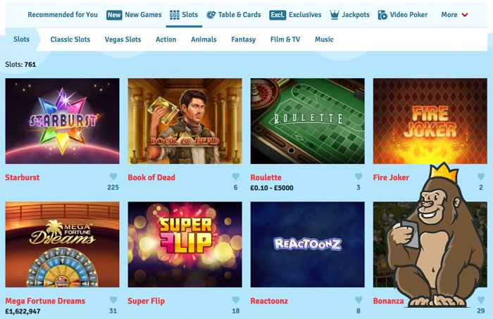 Bingo.com casino slot game selection
