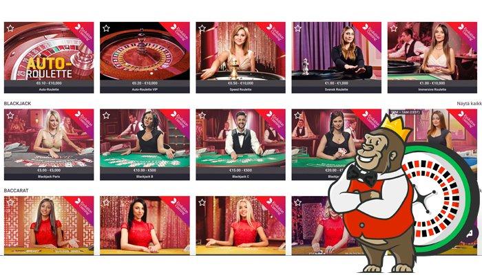 Guts Casinon livepelivalikoimaa