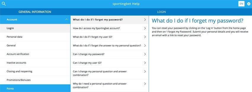 Sportingbet casino FAQ and support