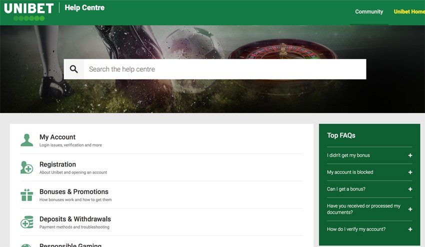 Unibet casino support and Help Centre