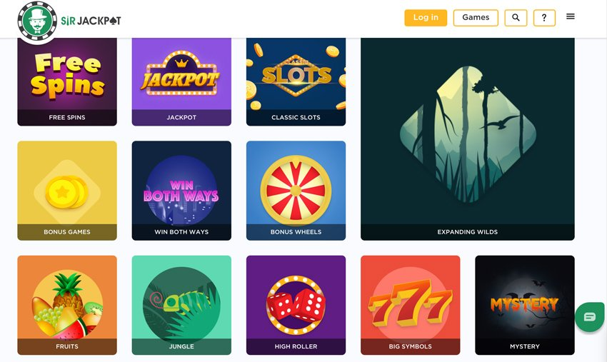 Sir Jackpot casino game categories