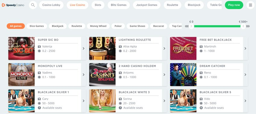 Speedy casino live casino games