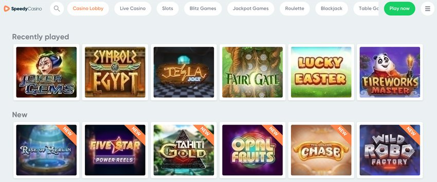 Speedy Casino slot games and categories