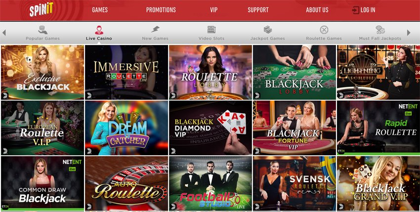 Spinit casino live games selection
