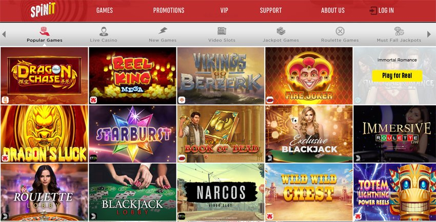 Spinit casino game selection