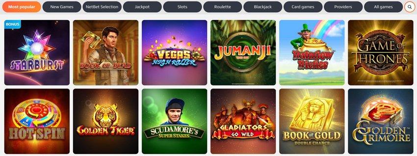 Netbet Casino game selection
