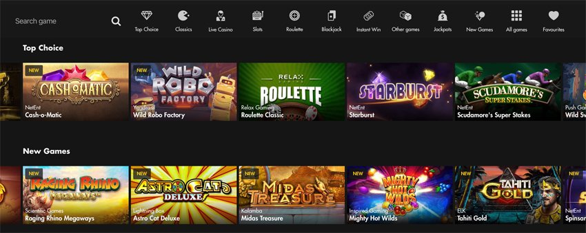 Bethard casino games and categories