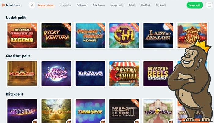 Speedy Casinon peliaulaa ja pelivalikoimaa