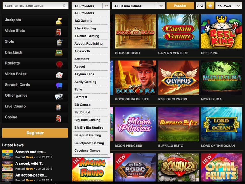 Videoslots casino games and software developers