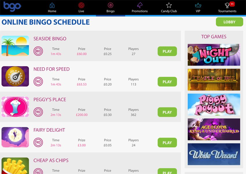 Bgo casino bingo games