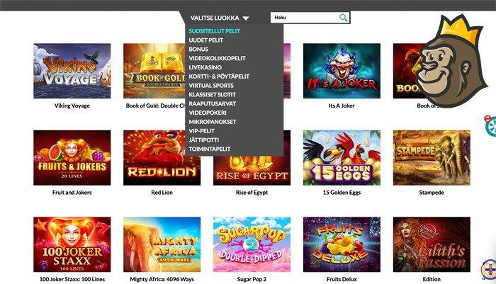 Casino Superlinesin peliaulaa ja pelikategorioita