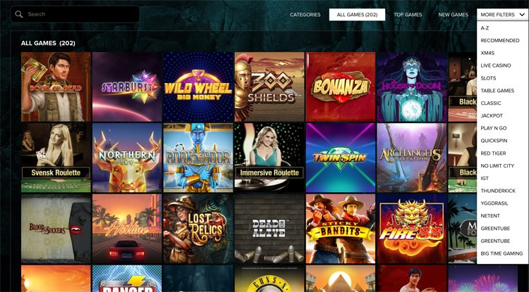 Kaboo Casino slot games categories and other filters