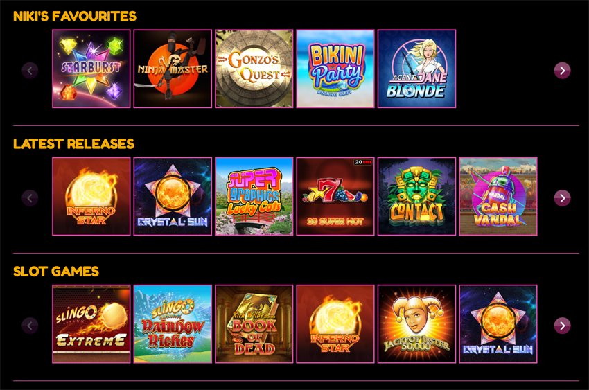 Lucky Niki casino games and categories