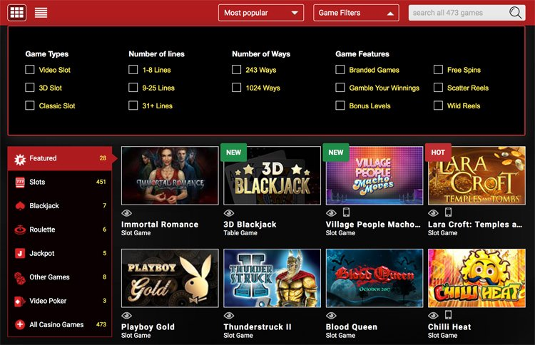 Mongoose casino games, categories and filters