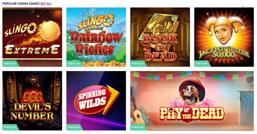 Playojo popular slot games