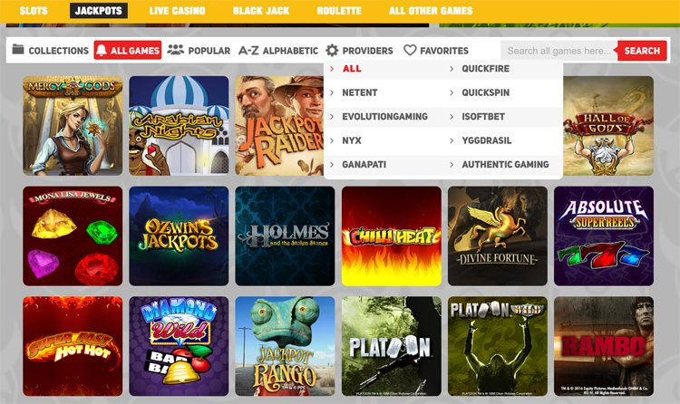 Scandibet casino jackpot games and software providers