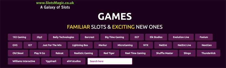 Software providers on Slots Magic casino