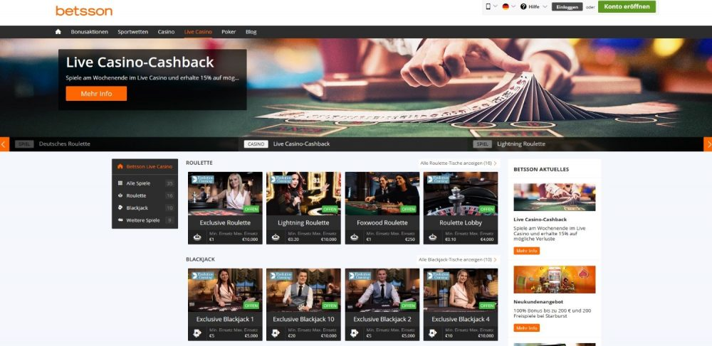 betsson casino live dealer spiele