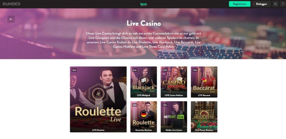 dunder casino tischspiele