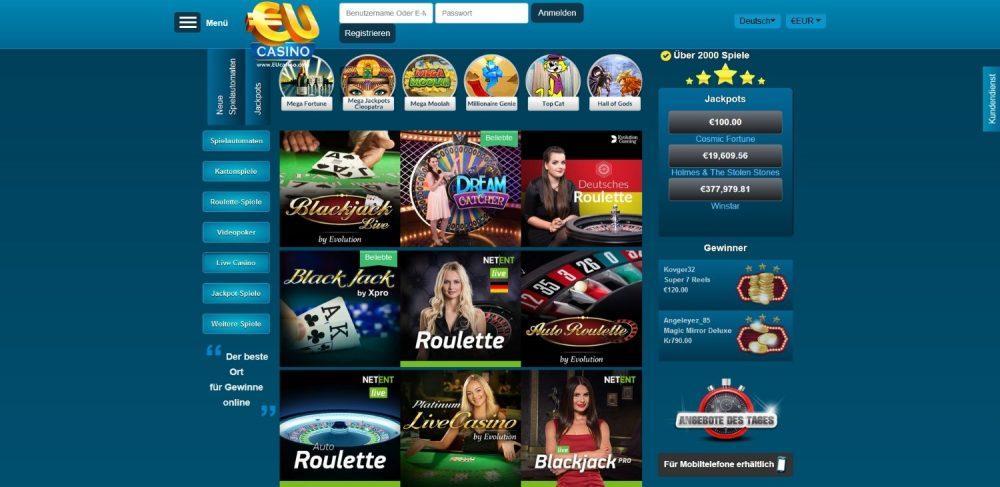 eucasino live dealer spiele