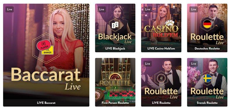 Live Baccarat och Live Roulette