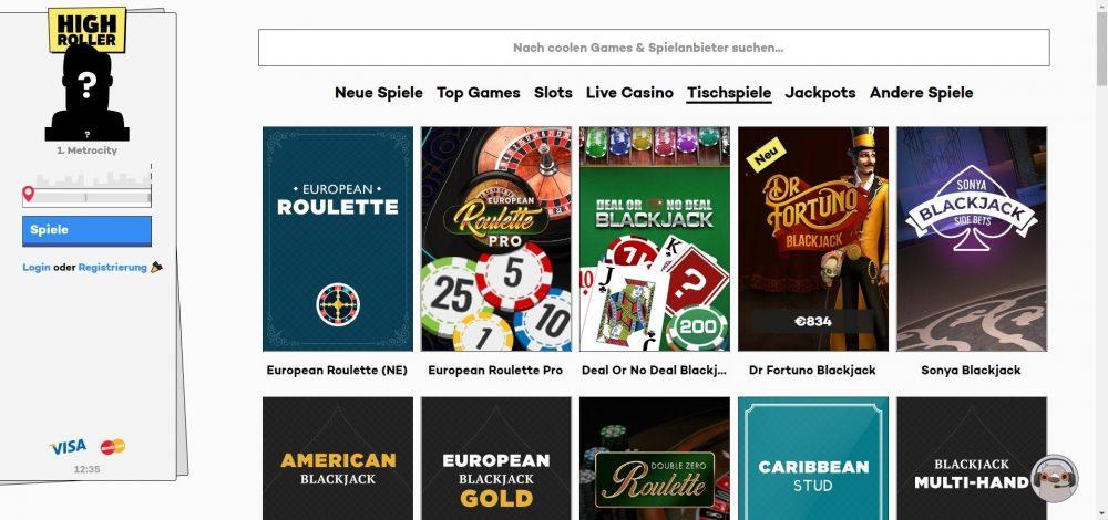 highroller casino tischspiele