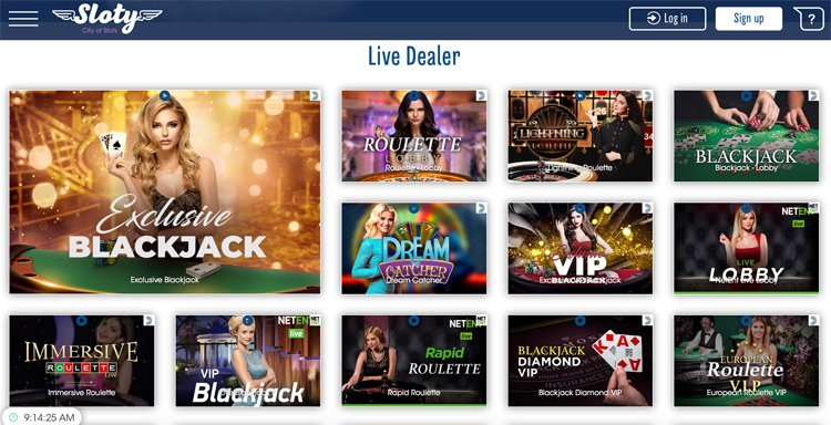 Sloty Casino live dealer games