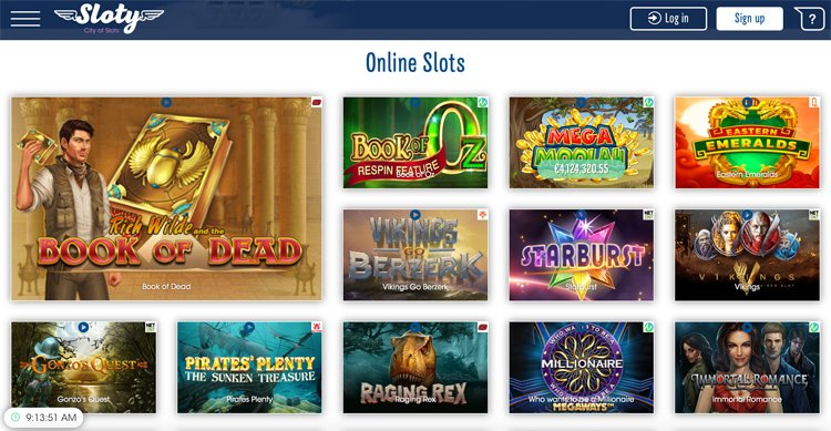 Sloty Casino slot game selection