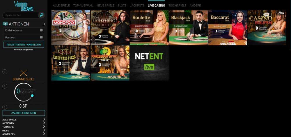 voodoo dreams casino live dealer spiele