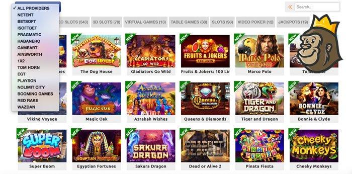 BetRebels Casinon pelivalikoimaa ja kategoriat