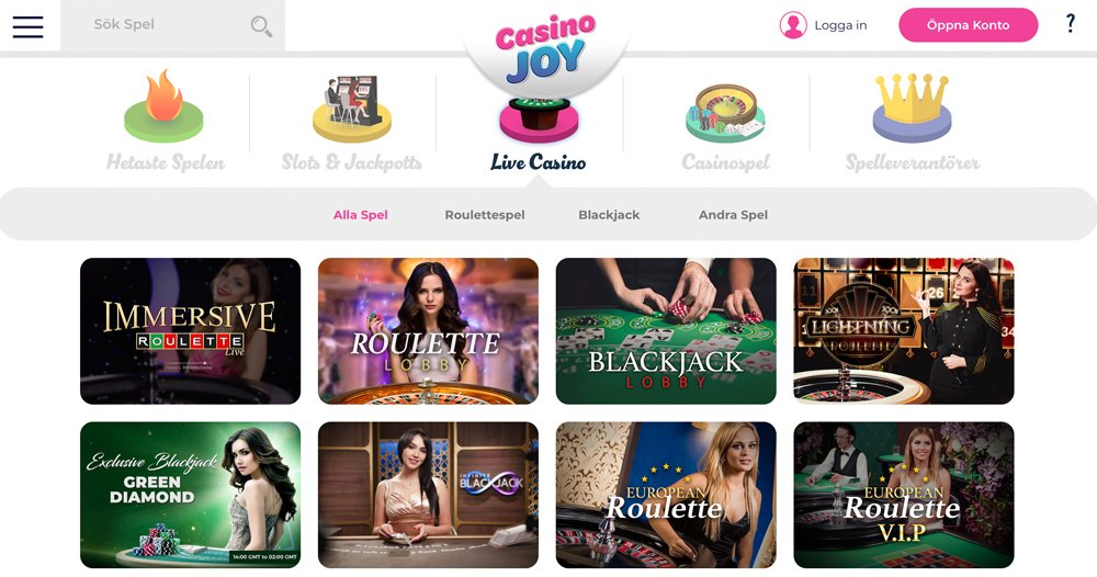 Immersive Roulette och andra Live casinospel
