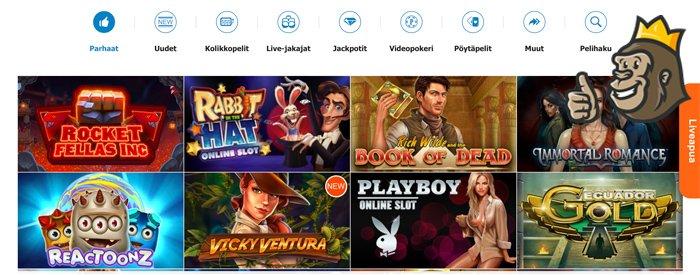 Casino X:n peliaula ja pelivalikoimaa