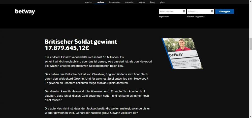 betway casino britischer soldat jackpot