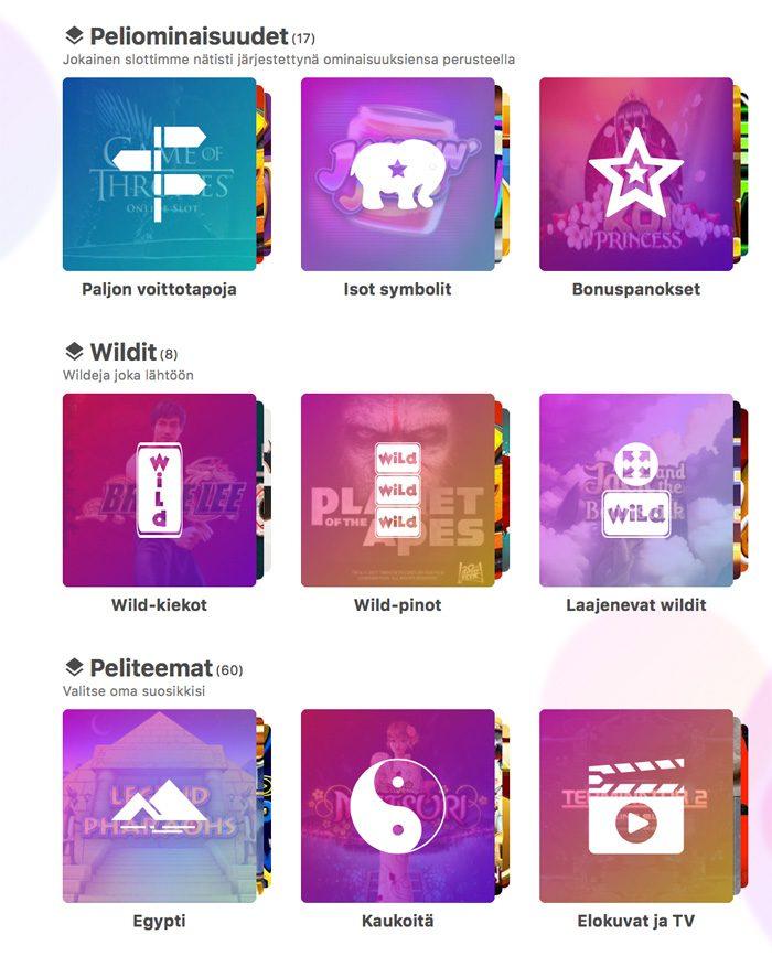 Dreamz casinon pelivalikoimaa ja kategorioita