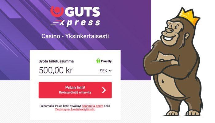Guts Xpress ei rekisteröitymistä