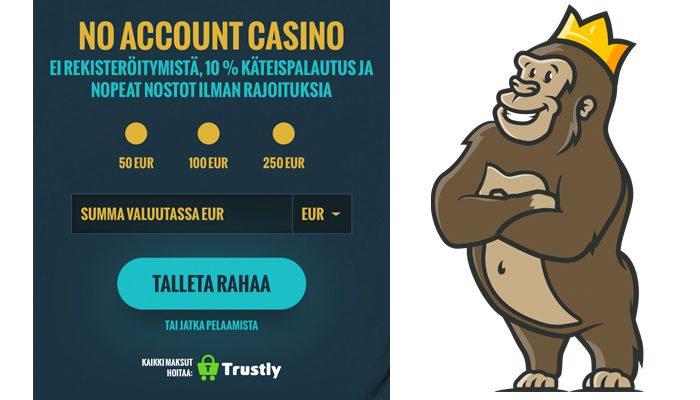 No Account Casinon käteispalautus