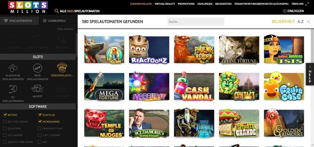 slotsmillion casino spiele filtern