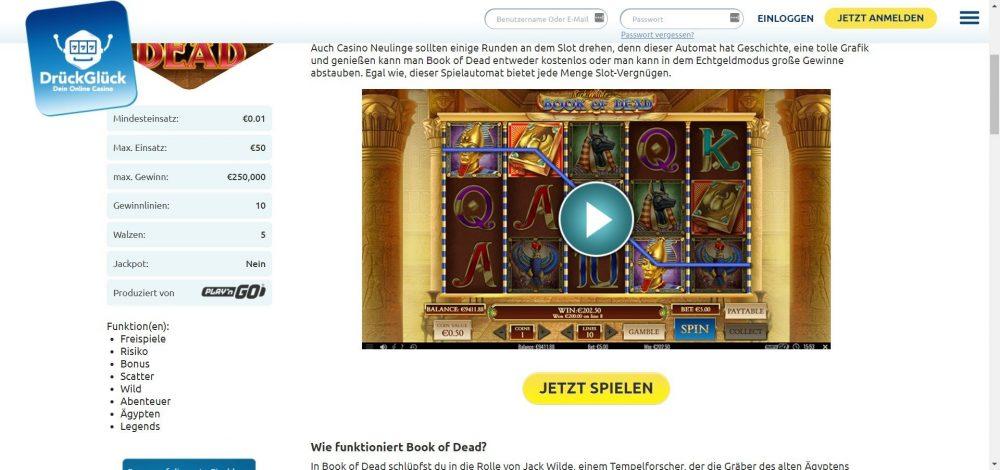 drückglück casino book of dead