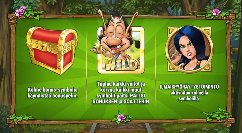 Hugo kolikkopelin Wild ja Bonussymbolit