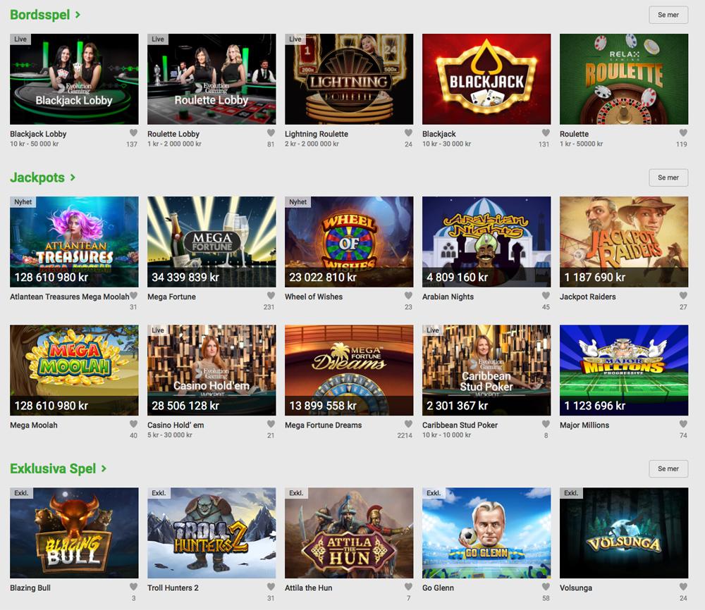 Bordspel, jackpots och exklusiva spel