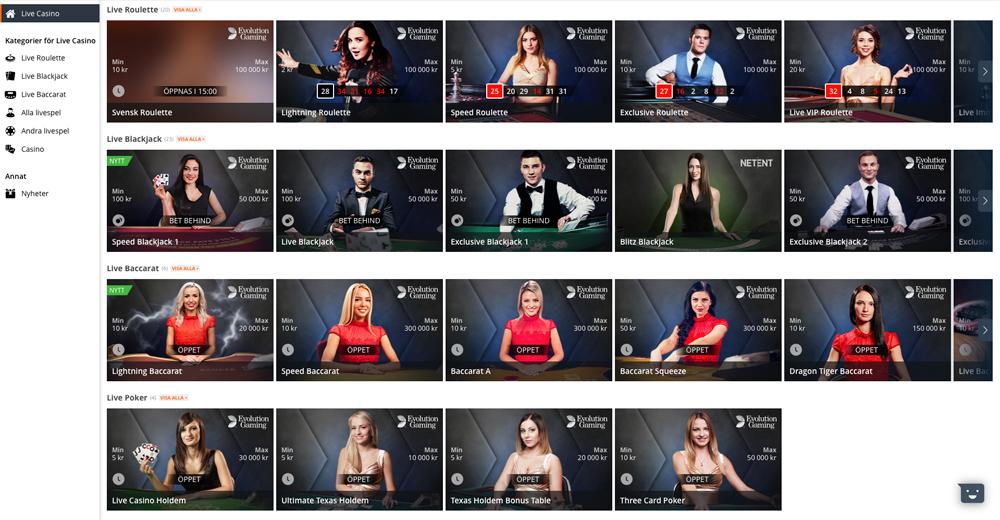 Kategorier för live casino
