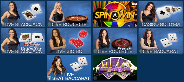 Live blackjack, roulette und baccarat