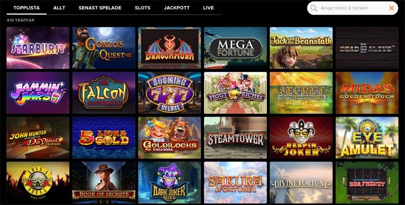 Slotsspel och topplista