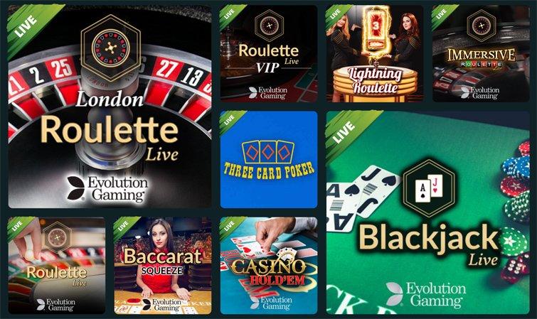 Livepelivalikoimaa, kuten ruletti, blackjack ja videopokeri