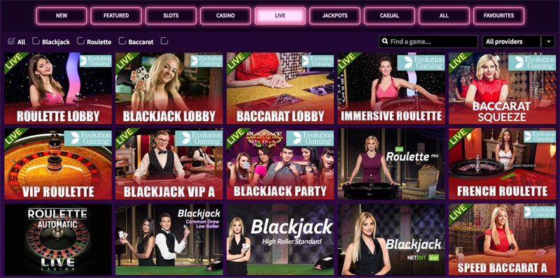Live Casinon pelivalikoimaa