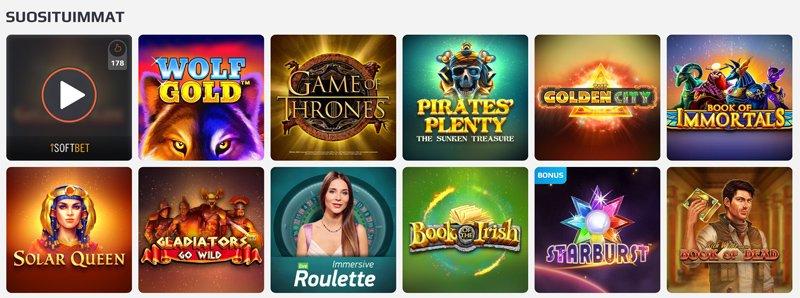 Suosittuja pelejä kasinolla