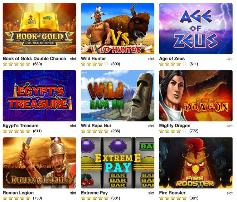 Verschiedenen Slots in online casino