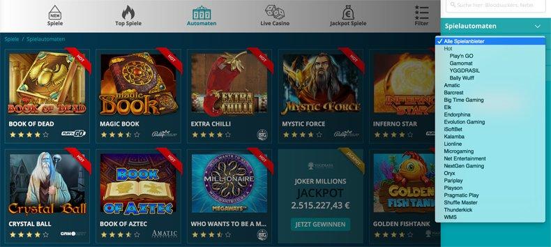 Platin Casino Spielautomaten und alle spielanbieter