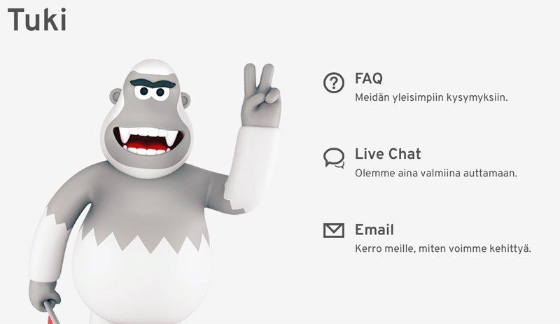 Asiakaspalvelu: Live Chat, E-mail ja FAQ-osio